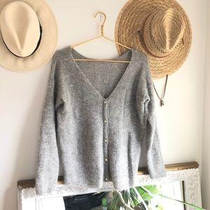 Sezane Cardigan sweater in grey medium